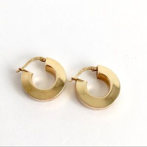 Vintage 14K Gold Hoop Earrings Wide Huggie